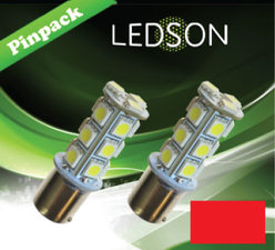 LED-LAMP RED 360 P21W 18SMD BA15s