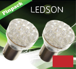 LED-LAMP RED - 24 DIODE  P21W  BA15s
