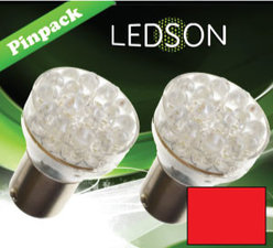 LED-LAMP RED - 360  13 DIODE  P21/5W BAY15d